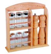 Bamboe Kruidenrek + Peper- en zoutstel - 6 Glazen kruidenpotjes - 29,5 x 30 x 7 cm