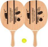 Beachball Beach Tennis Strandtennis Peddelbal Set - Houten Grip - 2 Bats & 2 Balletjes - Blank/Zwart/Geel