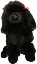 Pluche honden knuffel zittende zwarte Poedel 30 cm