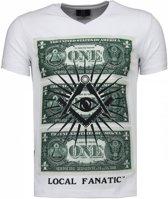 Local Fanatic One Dollar Eye - T-shirt - Wit - Maten: M