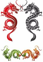 Plak Tattoo draken stickers XXL