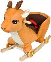 2-In-1 Hert Hobbelpaard Loopwagen - Schommelpaard Hobbeldier - Baby Schommel Paard - Schommeldier Pluche Hout