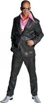 Disco kostuum heren zwart 64-66 (2xl)