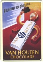 Van Houten reclame Reep Chocolade reclamebord 10x15 cm