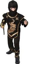 Voordelig zwarte ninja kostuum voor kinderen 110-122 (4-6 jaar)