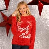 Kerstmis trui, Kerst trui voor vrouwen met de ondeugende tekst  Jingle My Bells  als fout Kersttrui, Maat XS