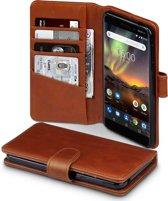Qubits - luxe echt lederen wallet hoes - Nokia 6.1 - cognac