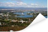 Luchtfoto van Canberra en Lake Burley Griffin Poster 180x120 cm - Foto print op Poster (wanddecoratie woonkamer / slaapkamer) XXL / Groot formaat!