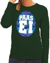 Paas sweater groen met blauw ei voor dames 2XL