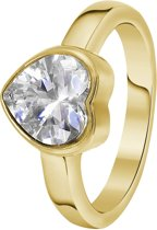 Lucardi - Colours by Kate - Stalen ring goldplated hart met zirkonia