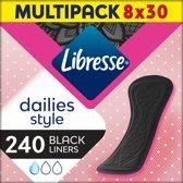 Libresse Normal Black inlegkruisjes - 8 x 30 stuks - halfjaar voorraad
