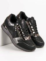 premium selection 1fec4 de0e9 Sneakers Zwart - Metallic Zilver - Dames Schoenen - Maat 38
