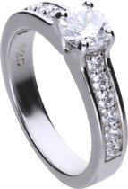 Diamonfire - Zilveren ring met steen Maat 18.5 - Solitaire met bezette band