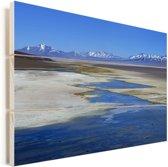 Wateren in het Nationaal park Nevado Tres Cruces in Chili Vurenhout met planken 120x80 cm - Foto print op Hout (Wanddecoratie)