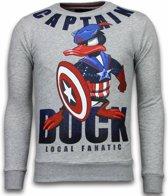 Local Fanatic Captain Duck - Rhinestone Sweater - Grijs - Maten: XXL