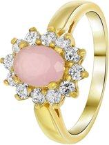 Lucardi - Nouveau Vintage - Goldplated ring milky pink met zirkonia