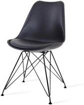 Essence Metal kuipstoel - Zwarte zitting - Zwart onderstel