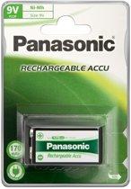 Panasonic 9V 170 mAh E-blok NiMH Oplaadbare Batterij - 1 stuk