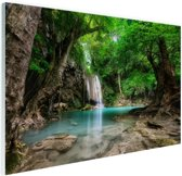 FotoCadeau.nl - Erawan Waterval in jungle Thailand foto Glas 30x20 cm - Foto print op Glas (Plexiglas wanddecoratie)