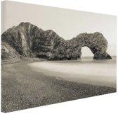 Durdle Door Beach sepia  Canvas 80x60 cm - Foto print op Canvas schilderij (Wanddecoratie)