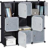 relaxdays vakkenkast met deuren - roomdivider kunststof - boekenkast 9 vakken - open kast zwart