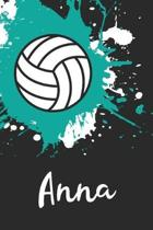 Anna Volleyball Notebook: Cute Personalized Sports Journal With Name For Girls