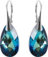 Oorbellen met Swarovski Kristal Druppel Bermuda Blauw - Zilver - 22MM