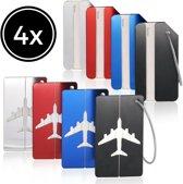 Travelsky Kofferlabel – Bagagelabel – Adreslabel - Naamlabel - 4 stuks – RVS - Aluminium – Rood – Zwart – Blauw – Zilver – Reislabel Voor Koffers – Tassen - Backpacks