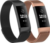 Adge® Milanese bandjes - Fitbit Charge 3 - 2-pack - Small