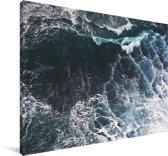 Luchtfoto van golven Canvas 180x120 cm - Foto print op Canvas schilderij (Wanddecoratie woonkamer / slaapkamer) XXL / Groot formaat!