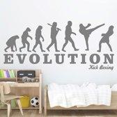Grijze kick boxing muursticker - slaapkamer - afmeting: 30 x 67 cm - grijs - Nr 207