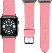 Rose Lederen Apple horlogeband (38mm) zwarte adapter