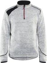 Blåkläder 4943-2117 Gebreid Sweatshirt 1/2 rits Grijs melange/rood maat XS