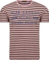 PME Legend - Heren Tee SS Woodrose Striped Jersey - Rood - Maat XL