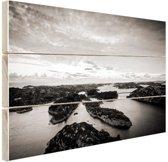 Noordzee eilanden zwart-wit foto Hout 30x20 cm - Foto print op Hout (Wanddecoratie)