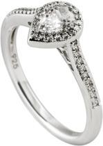 Diamonfire - Zilveren ring met steen Maat 17.5 - Druppel - Rand v zirkonia - Pav' bezet
