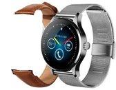 Overmax Touch 2.5 (S) Smartwatch met hartslagmeter met stalen en extra leren band, voor Ios en Android