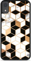 iPhone Xr Hardcase hoesje Black-white-gold Marble