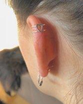 Zilveren ear cuff Heart