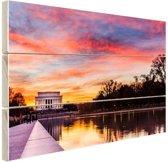 FotoCadeau.nl - Zonsondergang Lincoln Memorial Hout 60x40 cm - Foto print op Hout (Wanddecoratie)