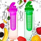 #DoYourFitness - 2x Fruitwater fles - »FruitInfusior« - Fruit infuser voor fruitpunches / groente spritzers - 700ml - roze/groen