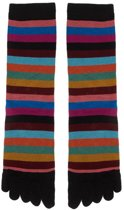 Bonnie Doon  - Dames - Teensokken  - Colourful Stripe Toe Sock  - Zwart - Maat 36-42