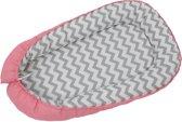 Polini Babynestje 2-zijdig 'Zigzag' Roze - 100% natuurlijk katoen