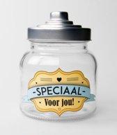 Valentijn - Snoeppot Speciaal voor jou - Gevuld met verse dropmix - In cadeauverpakking met gekleurd lint