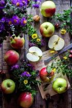 Apples and Colorful Flowers on a Rustic Wooden Table Garden Still Life Journal