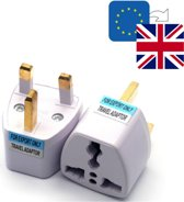 TravelBuddy Reisstekker – EU naar UK - Type G - Engeland - Verenigd Koninkrijk - Schotland - Ierland - Afrika - Dubai - Plug - Reis Verloopstekker - Wereldstekker - Oplader - Adapter - Wit
