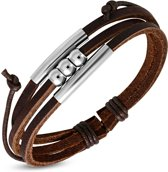 Amanto Armband Ajmal - Heren - Leer - 316L Staal - 18 mm - ∅ 20 cm