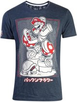 Nintendo Super Mario Heren Tshirt -XL- Piranha Plant Blauw