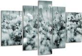 Glas schilderij Bloemen | Grijs, Zwart, Groen | 170x100cm 5Luik | Foto print op Glas |  F006577
