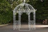 Clp Metalen tuinpaviljoen LEILA rond Ø 229 cm, hoogte 313 cm, rozenboog, rank hulp, weersbestendig, paviljoen voor klimplanten, eenvoudig, stijlvol design - antiek-wit